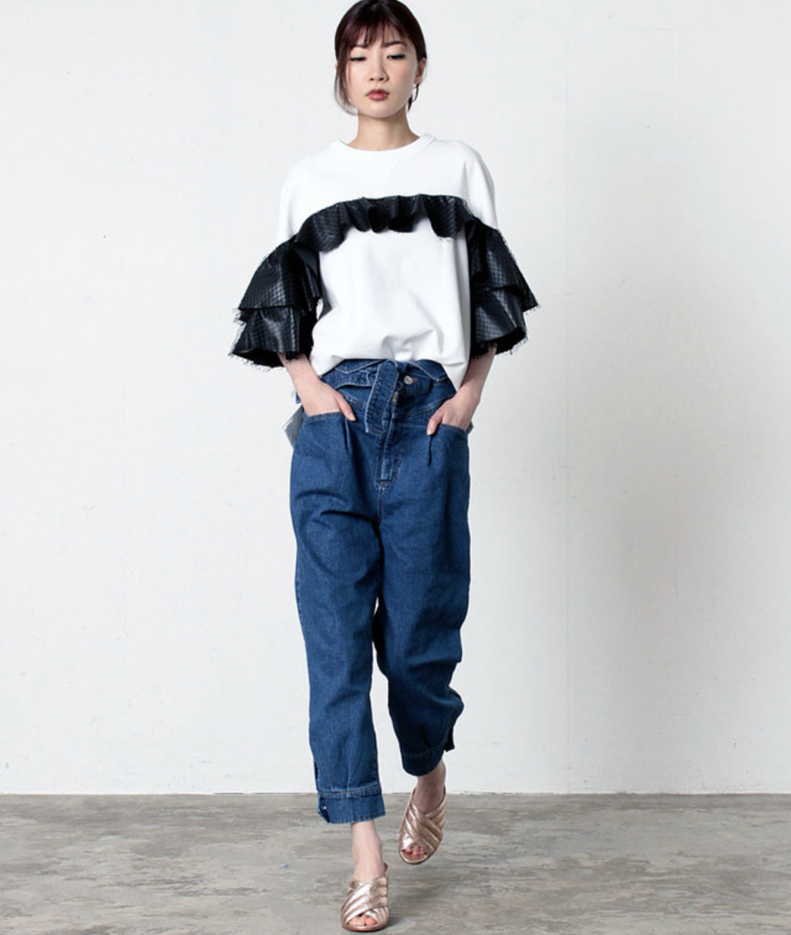 FLUMOR  Tulle frilled sweat pullover