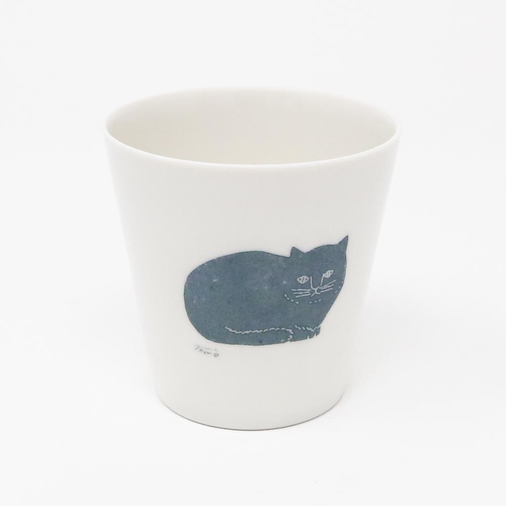 猫コップ(トモタケ極薄白磁コップ)