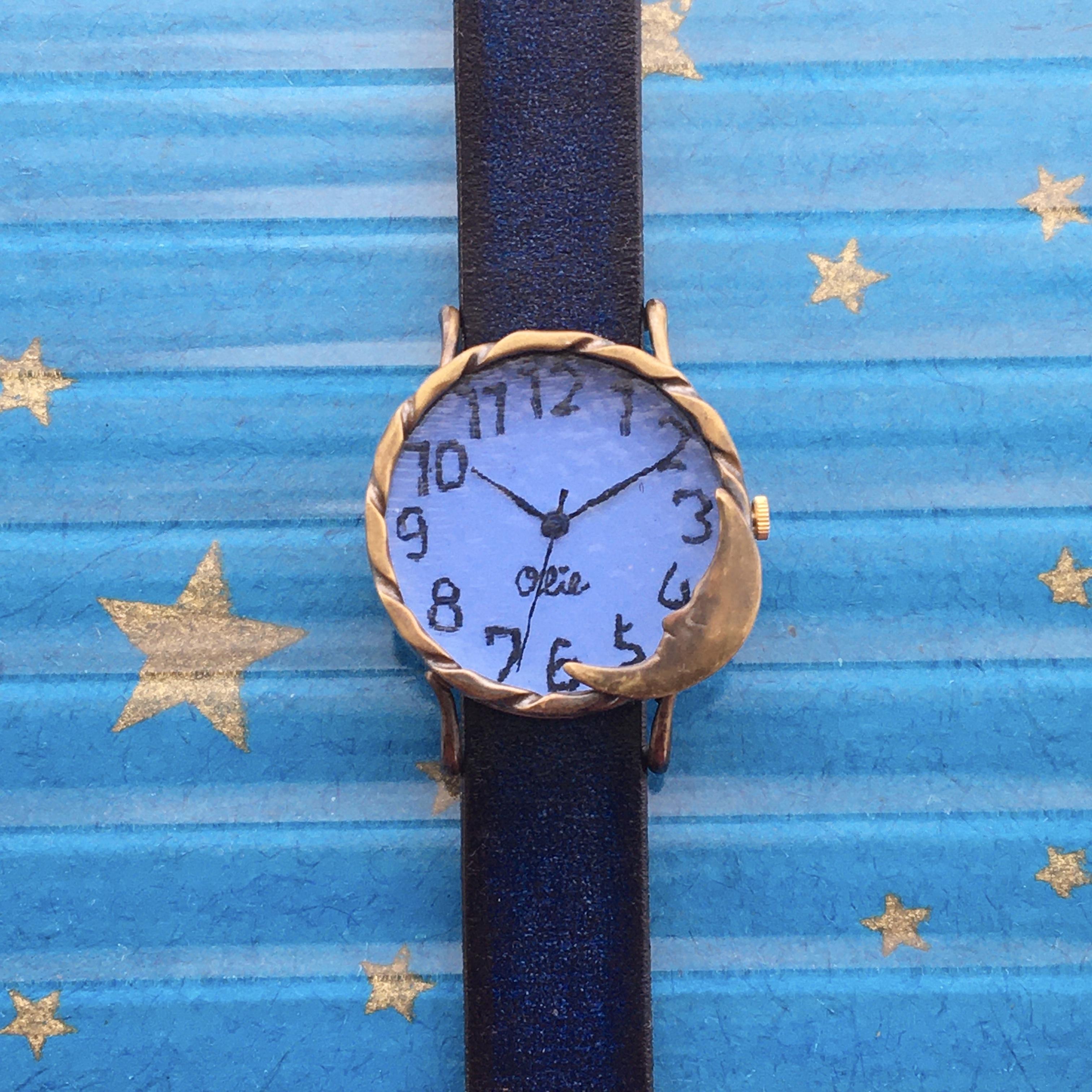 黄昏の月腕時計Mパステルブルー