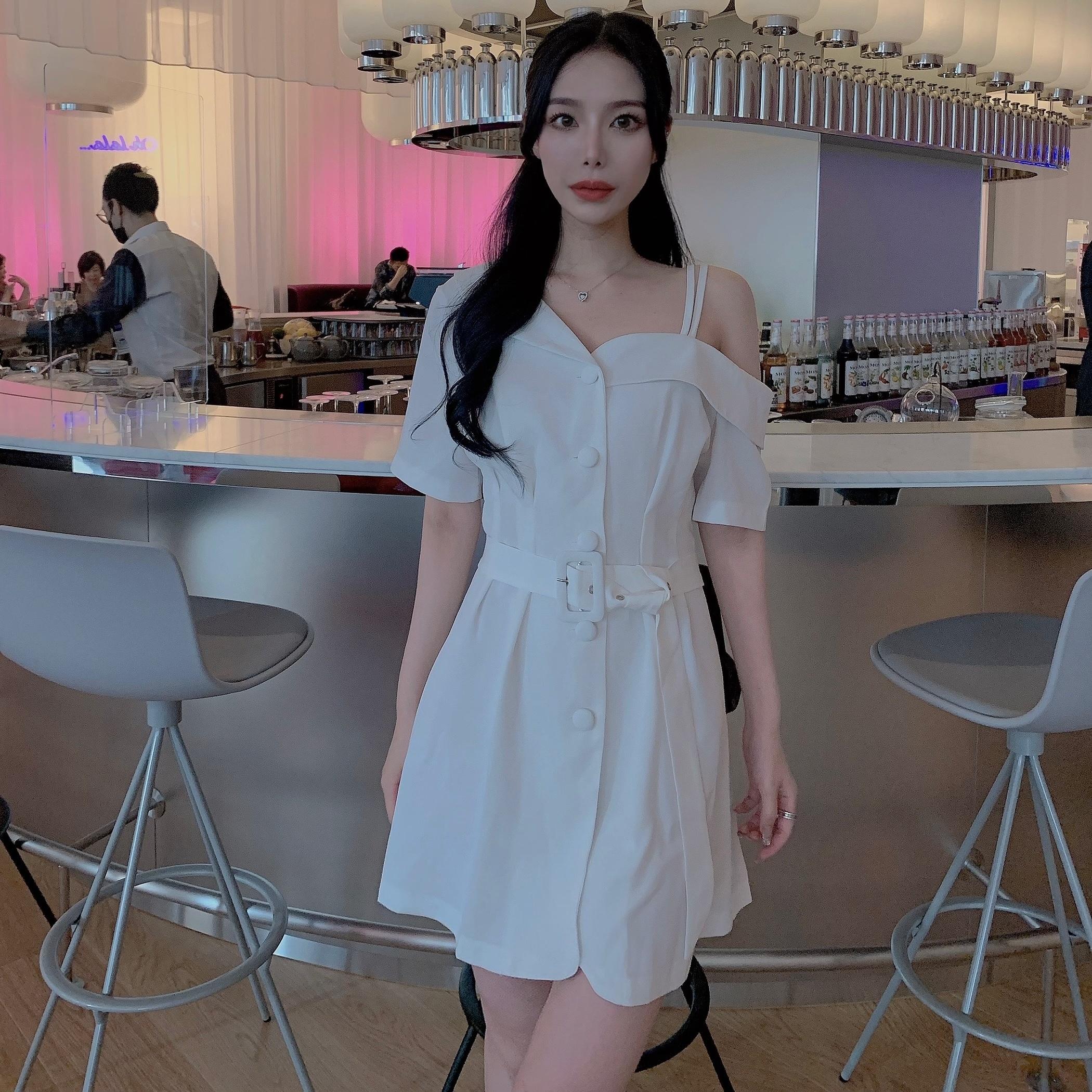 ୨୧ asymme chic dress 2color
