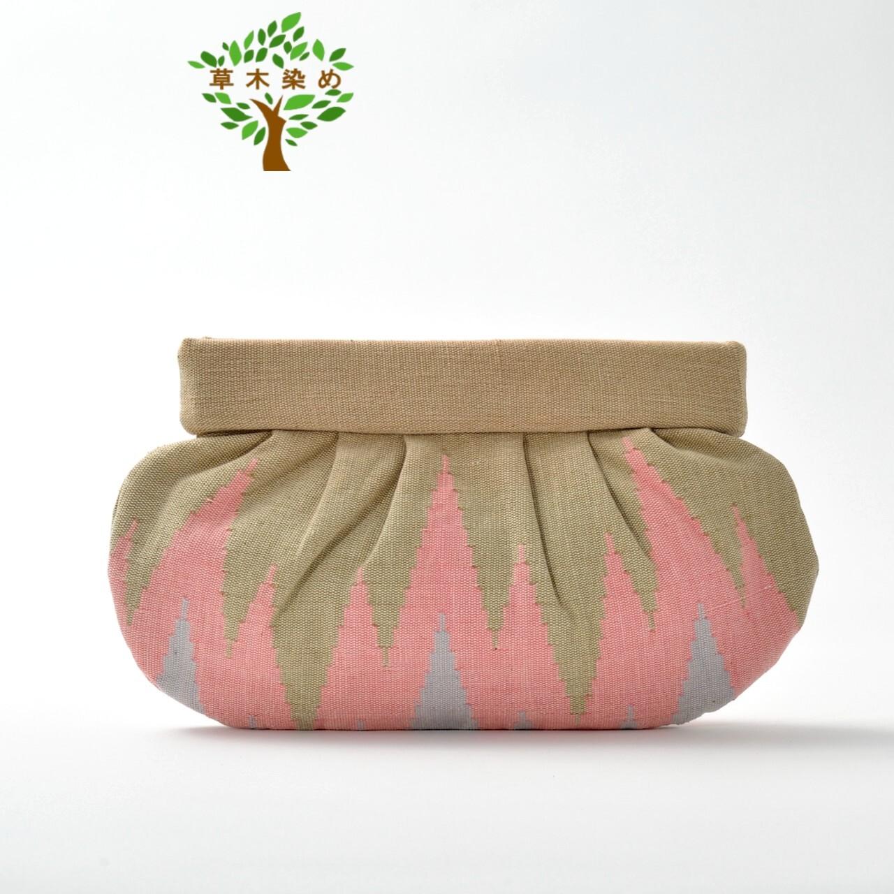 草木染め手織りクラッチL  ベージュ×ピンク