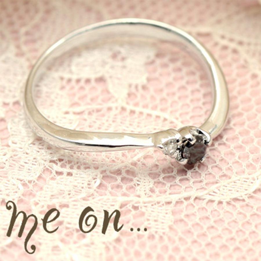 ★送料無料★【me on...】◆K10ホワイトゴールド◆ブラックダイヤモンドリング