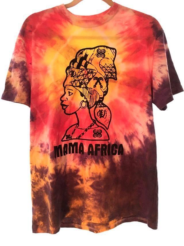 ガーナの手染めTシャツ【L】 MAMA AFRICA-①