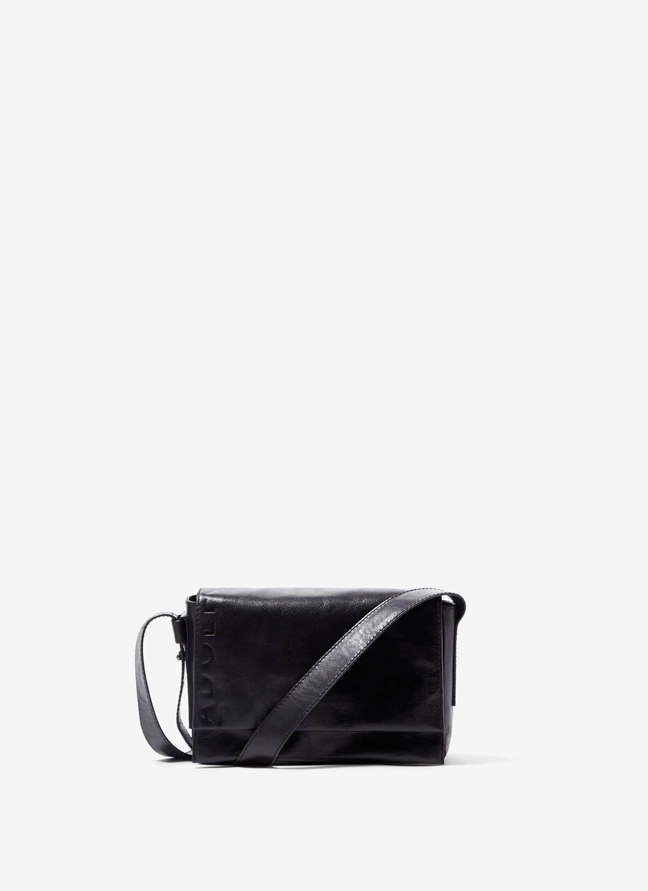 CRACKLED GLOSSY LEATHER FLAP BAG