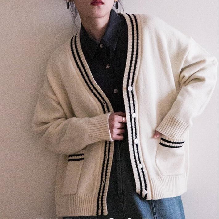 Double line knit cardigan(ダブルラインニットカーディガン)b-073