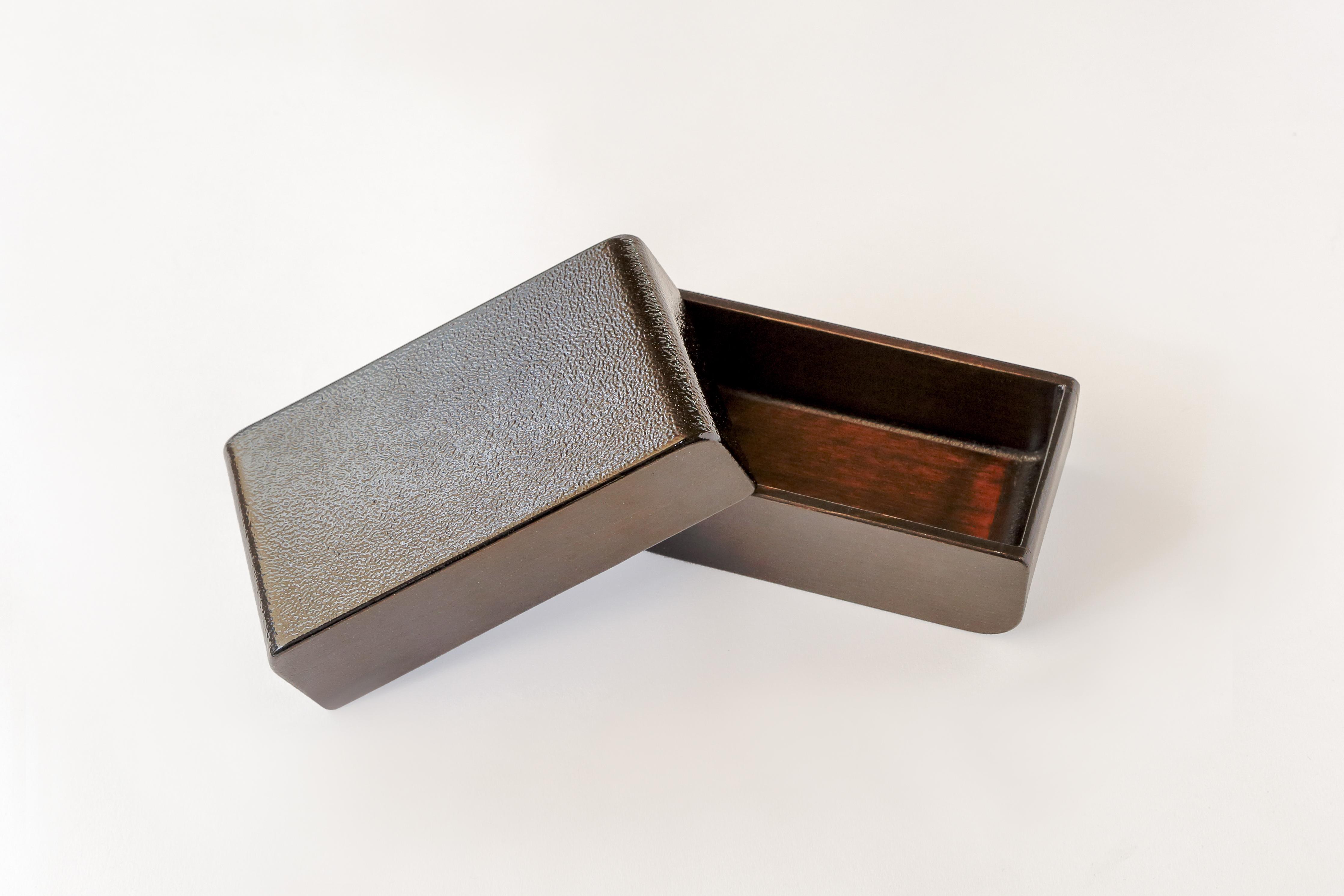 カブセル 弁当箱 黒漆たたき仕上げ(小)