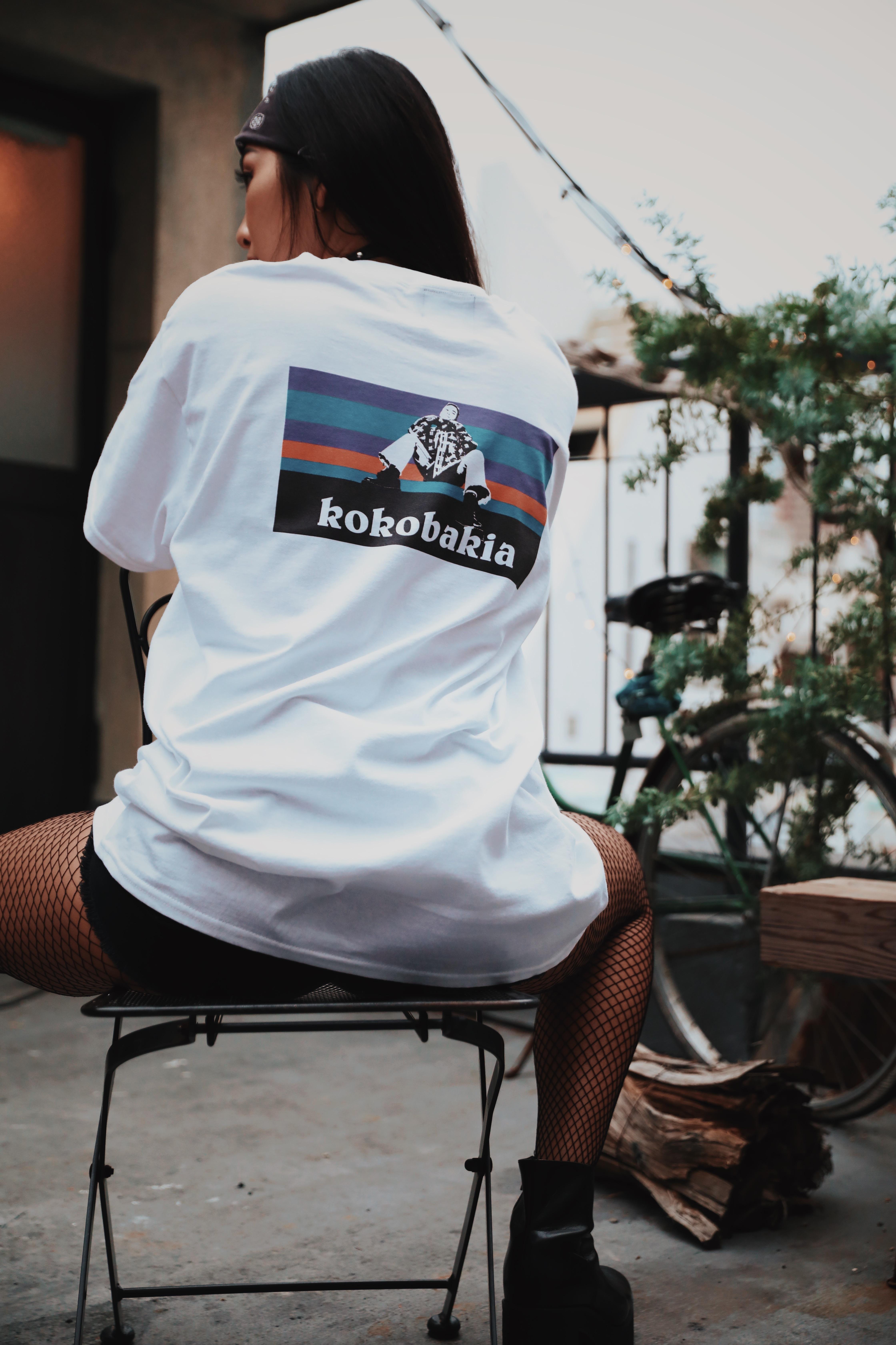 ノーオーガニックコットン バックプリント イラスト Tシャツ ホワイト