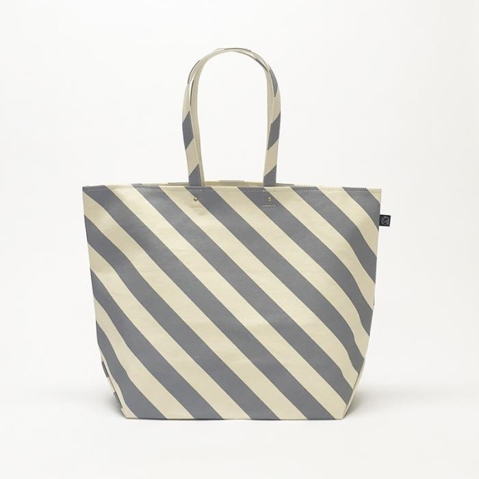 Sac du marché /gray × stripe マルシェトート/ 薄灰色 x 縞