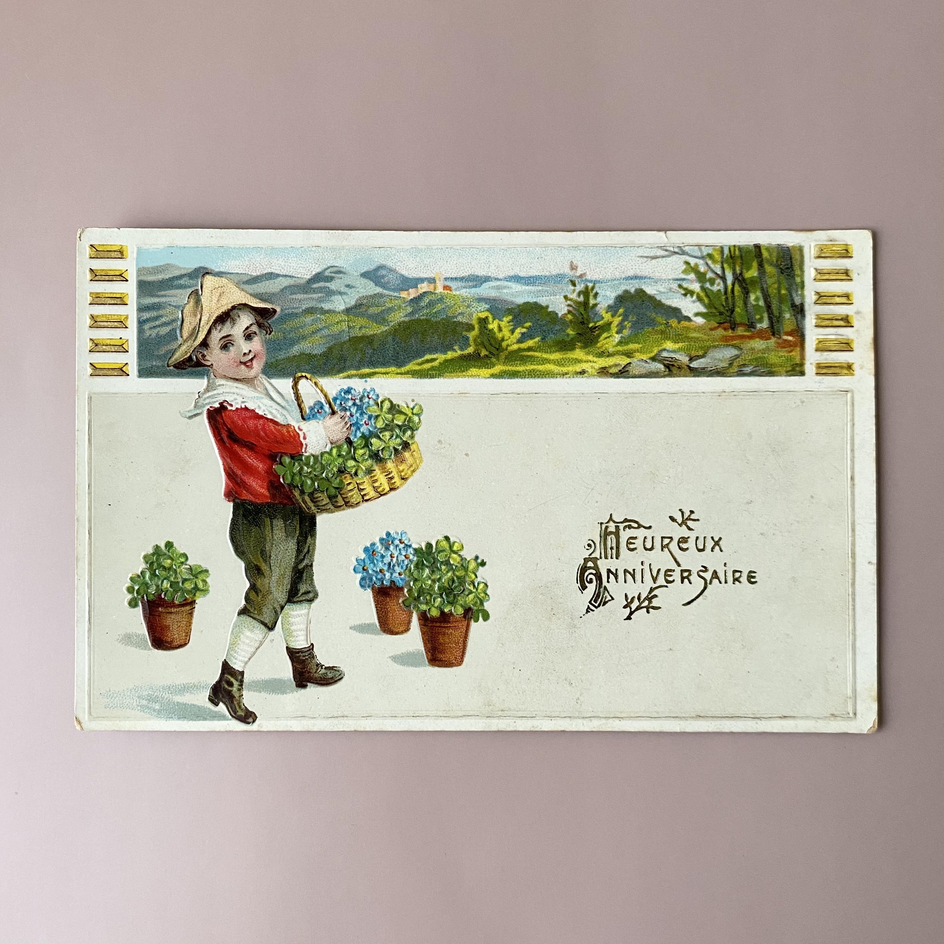 アンティーク Panier de fleurs ポストカード ・a  /  vp0235