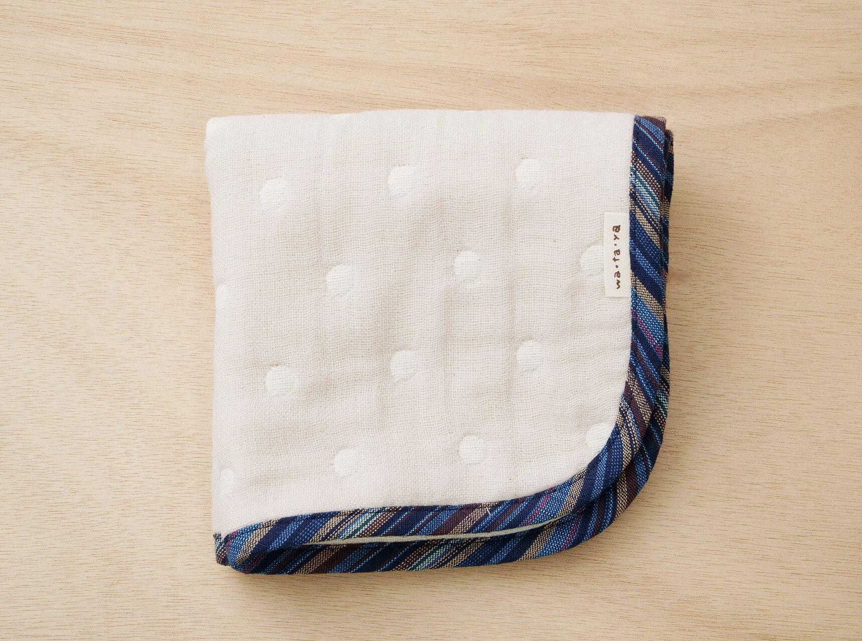 wa.ta.ya × 会津木綿 会津木綿でふちどったハンカチ(28×27)