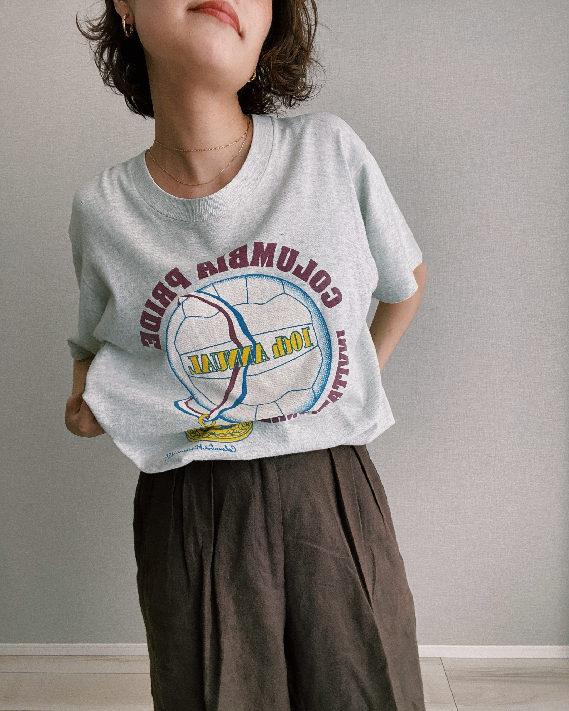 (CS326)80's FRUIT OF THE LOOM printed T-shirt made in USA