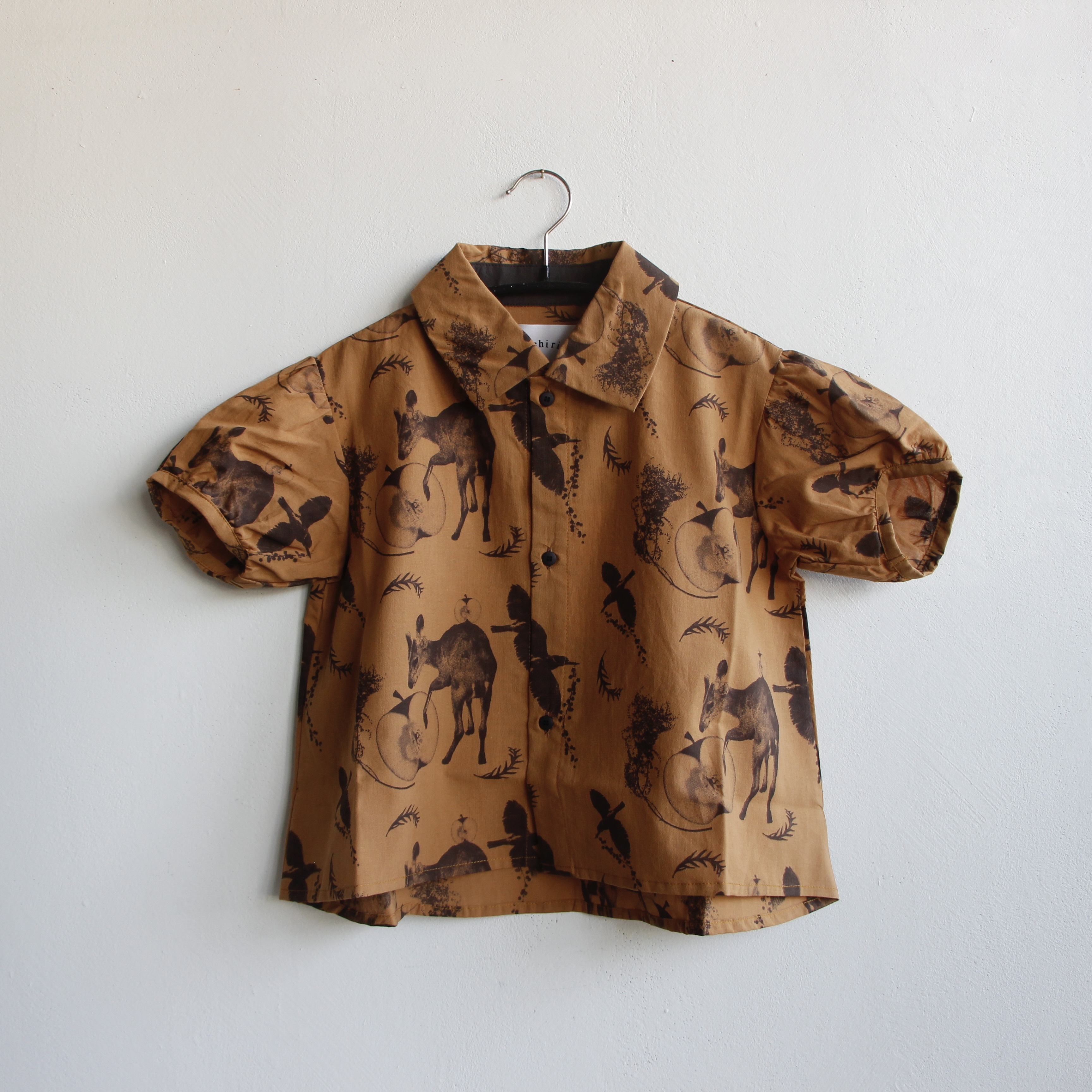 《michirico 2021SS》Flora and fauna shirt / camel / S・M