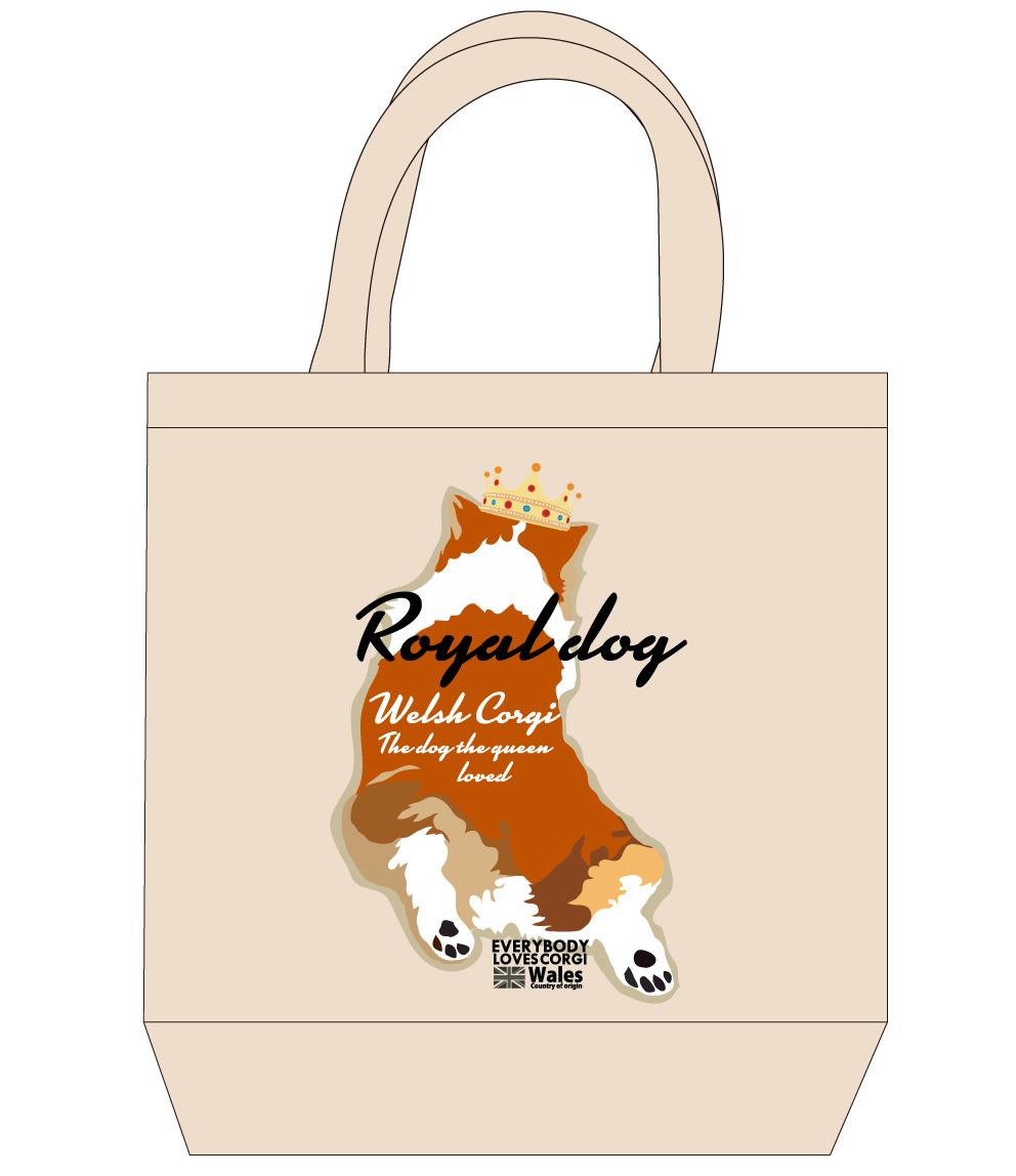 No.2020-royaldog-tote0002  : ロイヤルドッグシリーズ コーギーバックスタイル茶色 トートバッグMサイズ