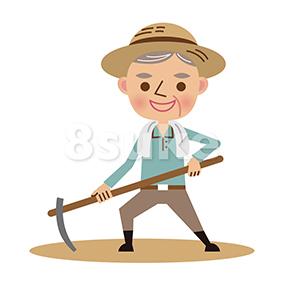 イラスト素材:鍬で畑仕事をする年配の農夫(ベクター・JPG)