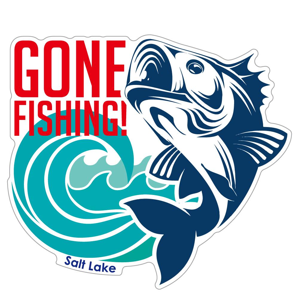 "178 GONE FISHING! ""California Market Center"" アメリカンステッカー スーツケース シール"
