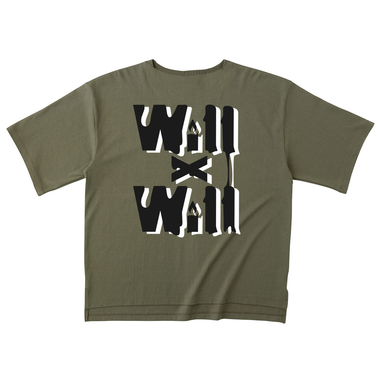 WillxWill Candle Light Big Silhouette T-shirts Olive