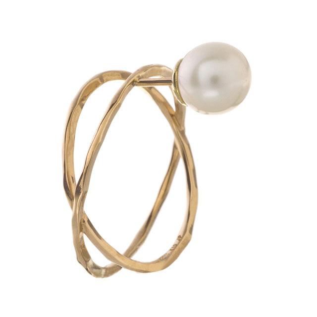 K10 Pearl X Ring Stud 10金パールエックスリングスタッドピアス(片耳用)ELE0005G