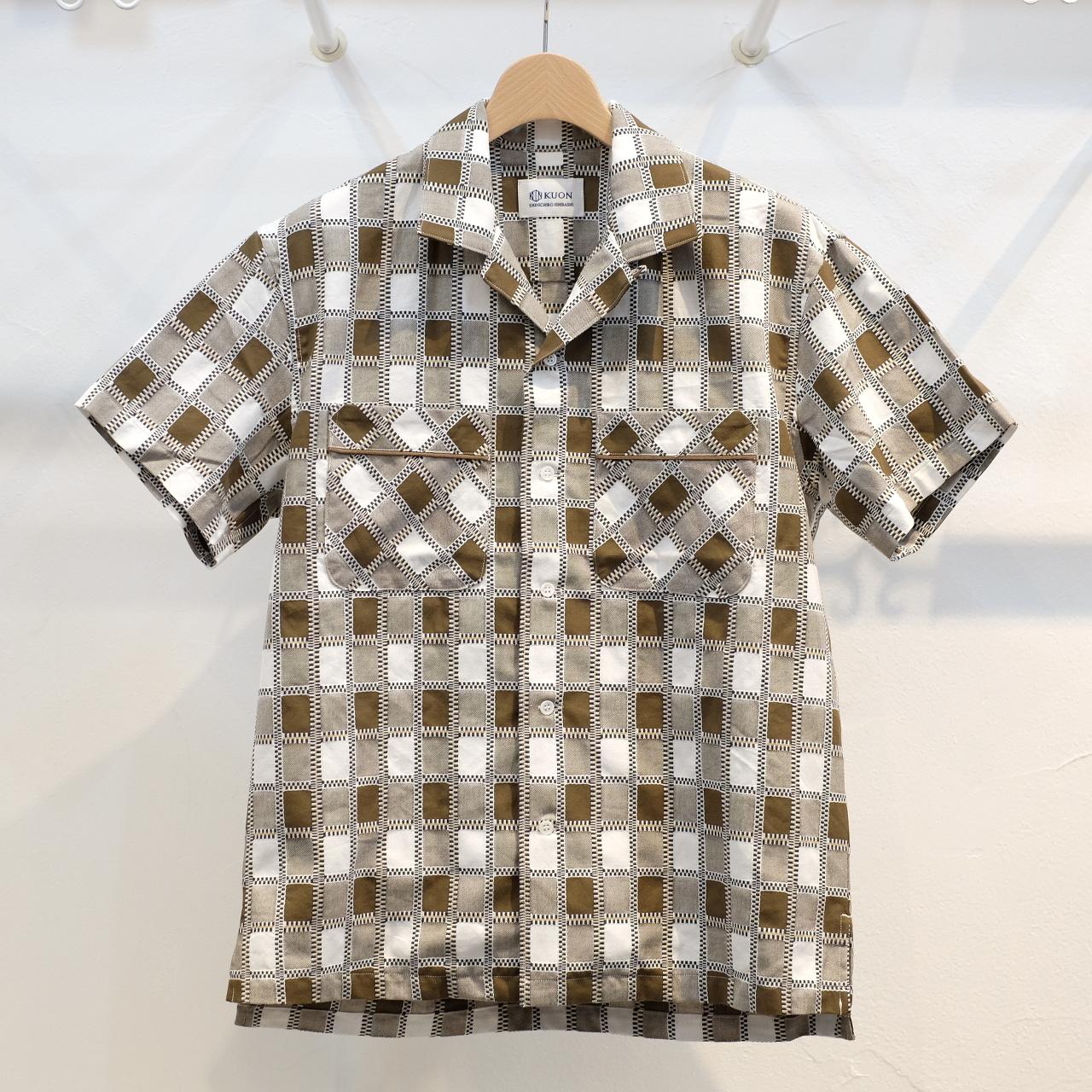 KUON(クオン) 吉野格子(柳格子) オープンカラーシャツ ブラウン