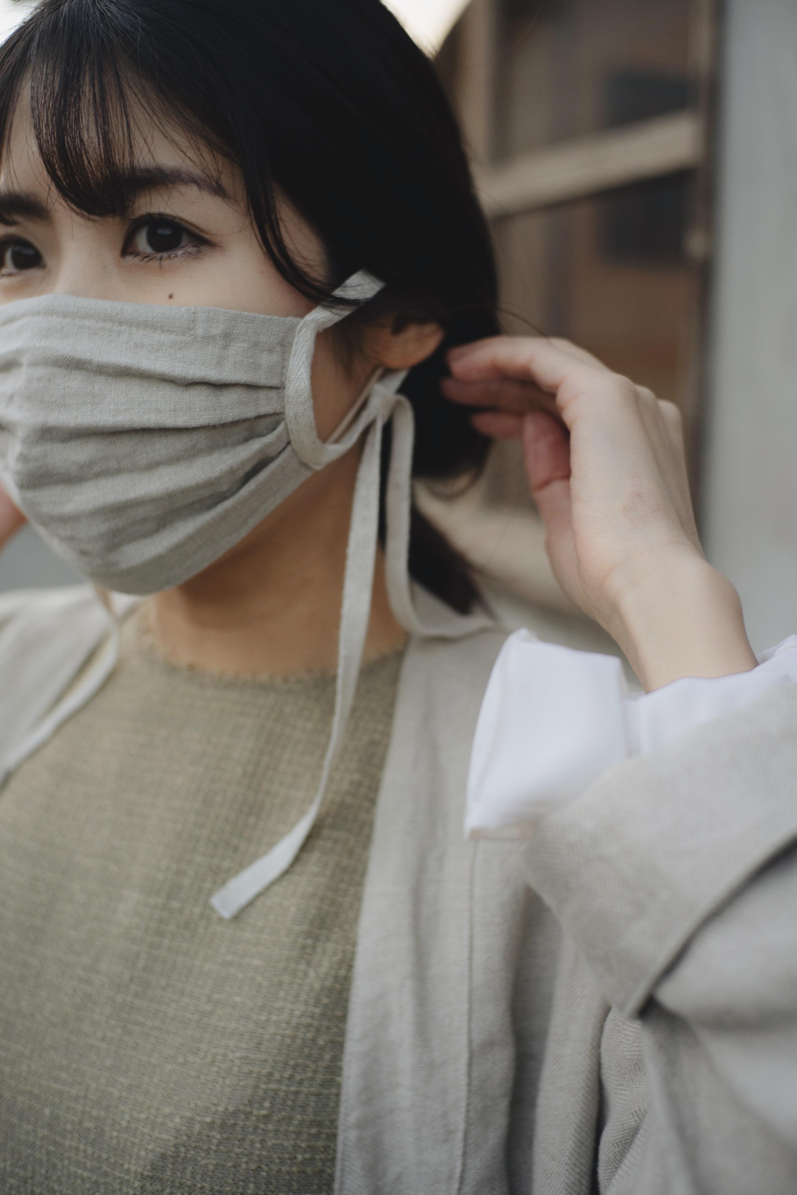 リネンの綾織リボンマスク(エクリュ)