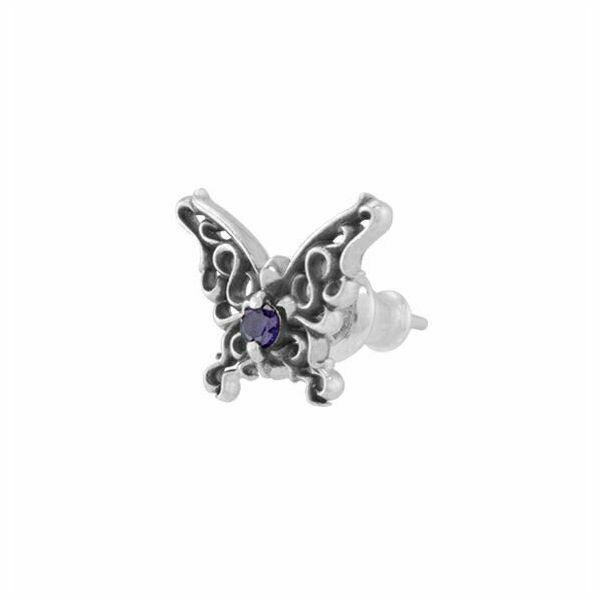 パピヨンローズスタッド シルバーピアス 片耳分 AKE0079 Papillon Rose Stud Silver Earrings For One Ear