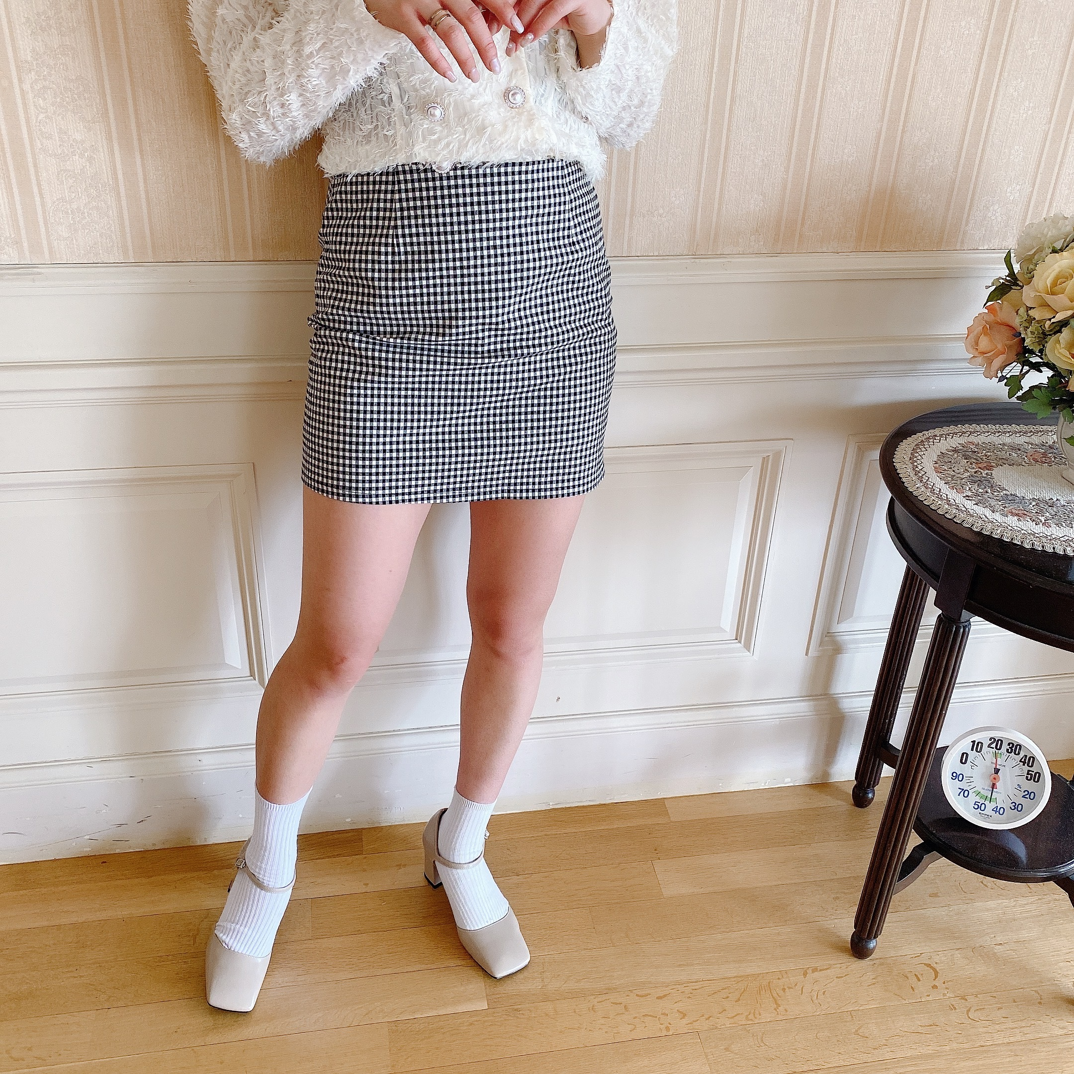 【Belle jour】gingham check mini skirt