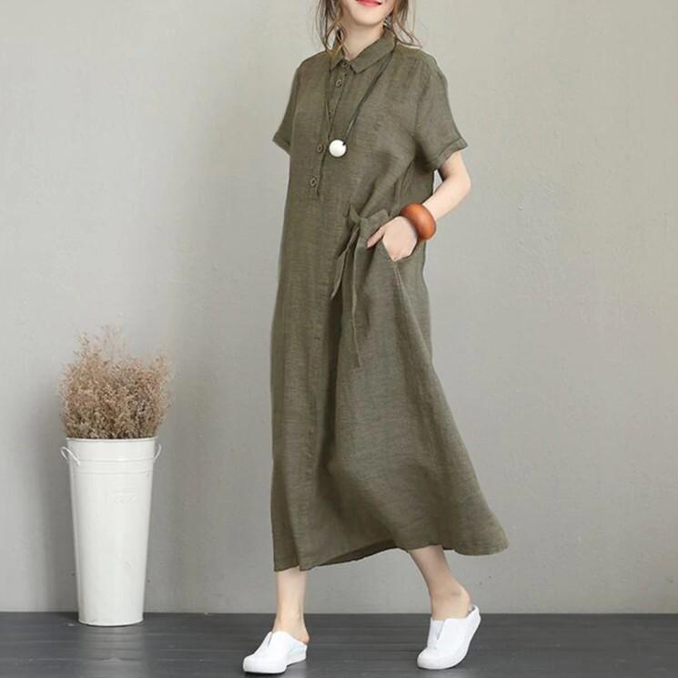 ポケット付き ボタンダウンカジュアル ルーズ半袖コットンワンピース 3色