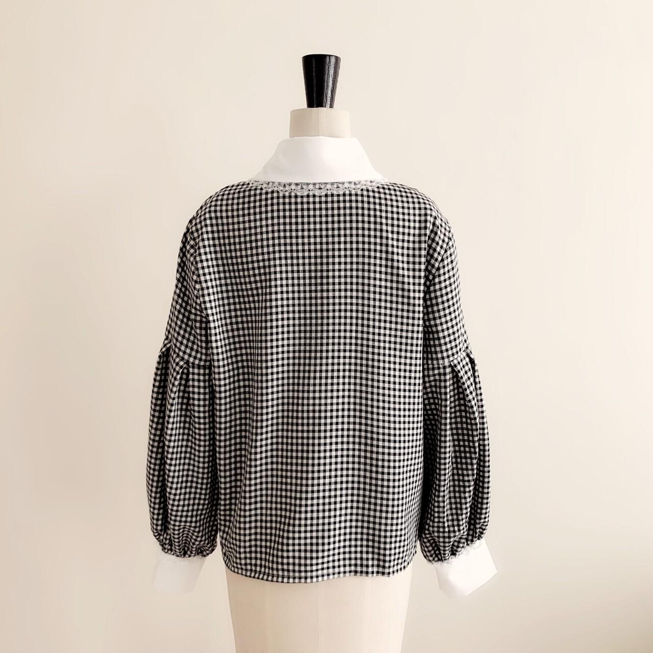 【meltie】girly gingham blouse