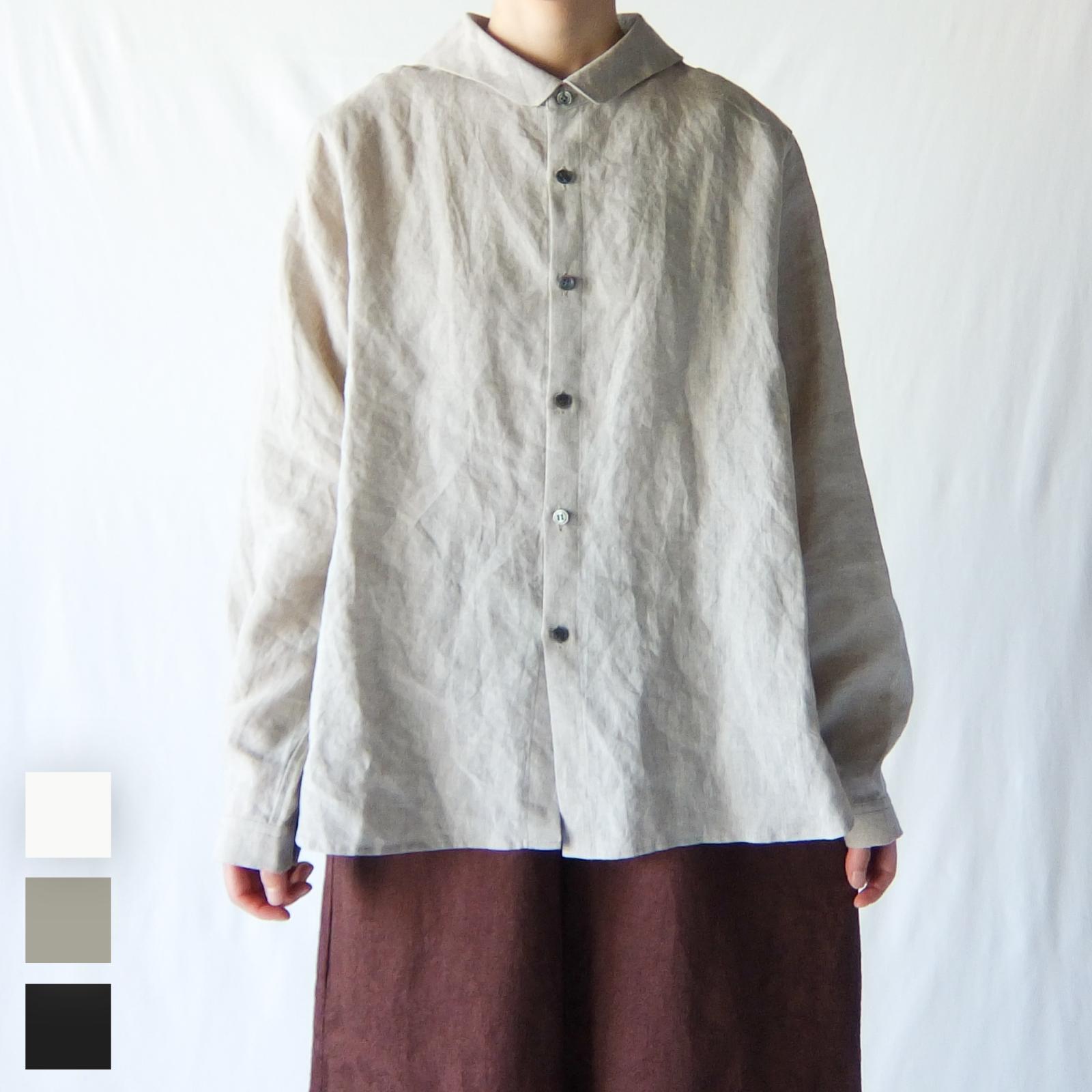 Vlas Blomme - KL Heritage 60 セーラーカラーシャツ - Black / Off White / Flax