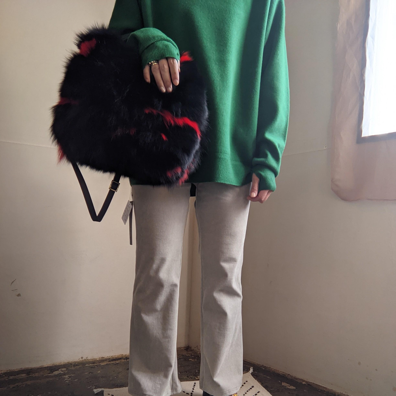 【 ikot 】イコット / fox fur bag / 牛革 / Black×Red