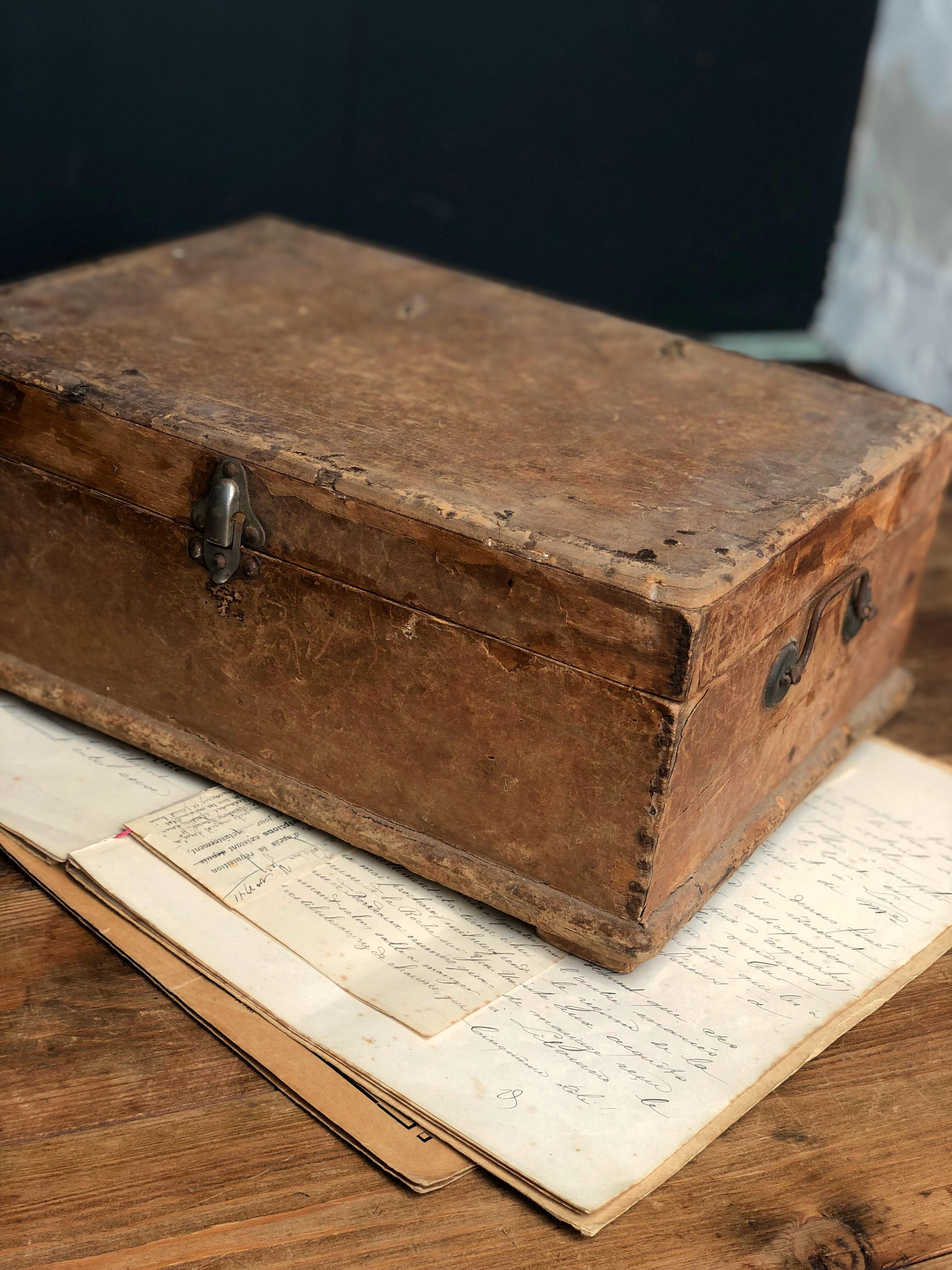 2段 紙貼り木製収納ボックス 木箱