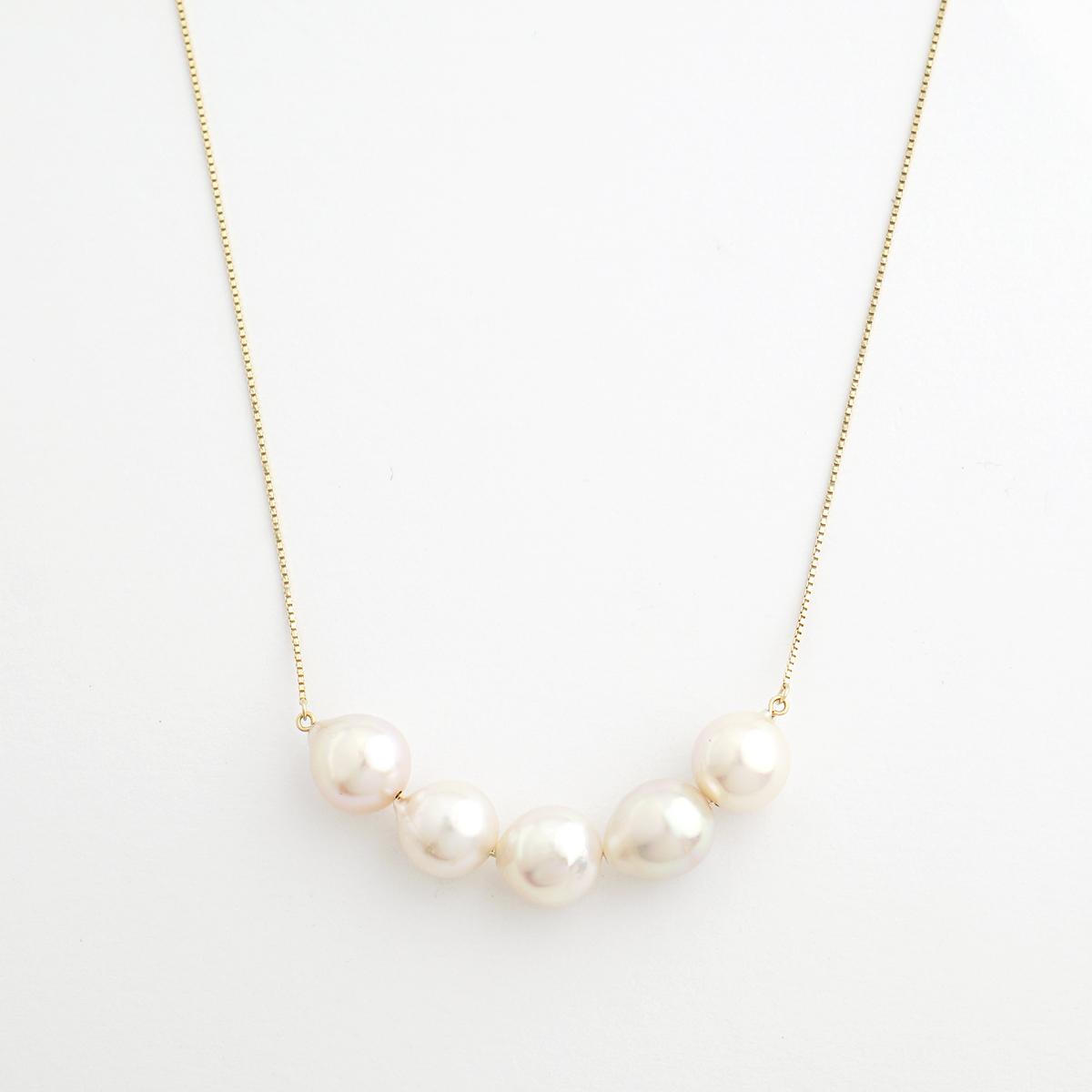 Akoya pearl stream short necklace