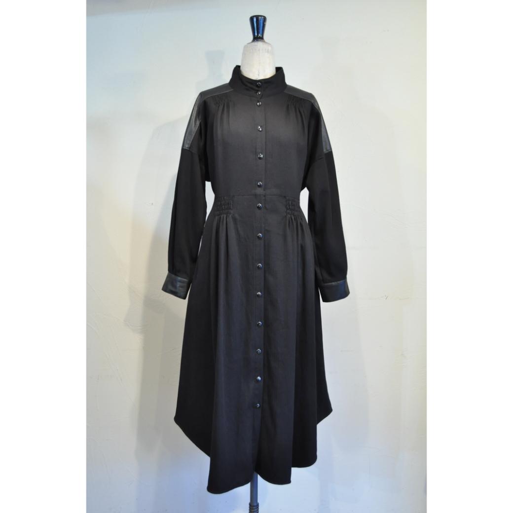 【RehersalL】herringbone onepiece gown (black)/【リハーズオール】ヘリンボーンワンピースガウン(ブラック)