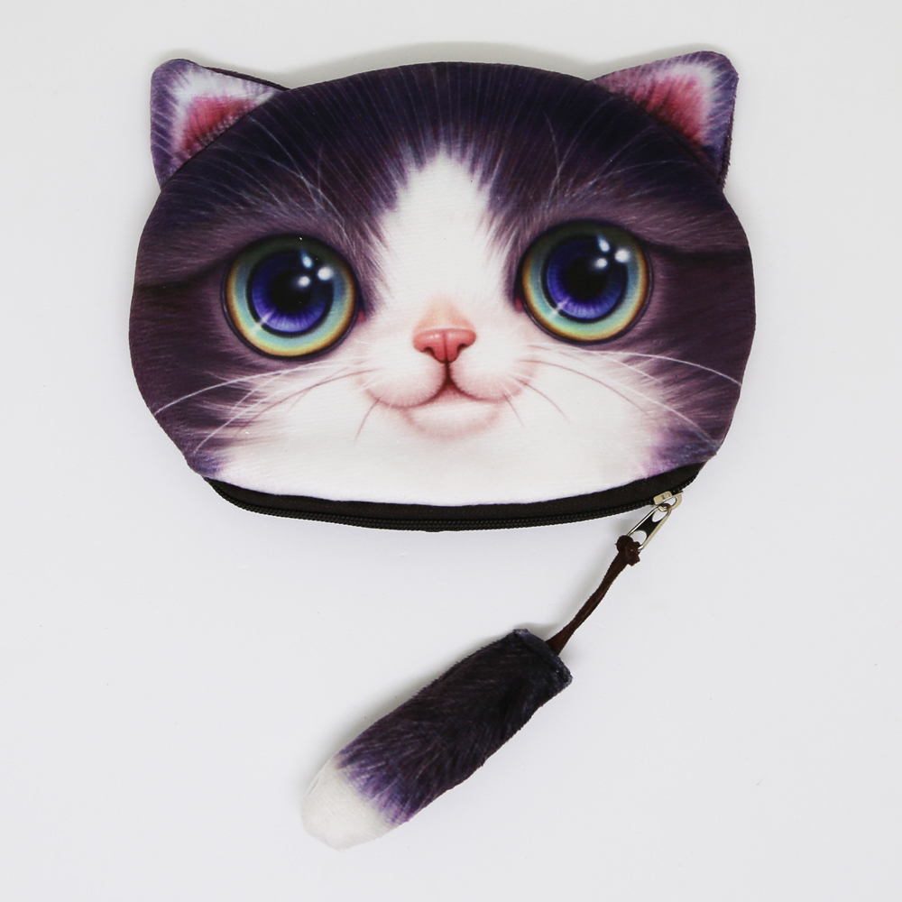 猫しっぽポーチコインケース(猫顔としっぽ)ハチワレ
