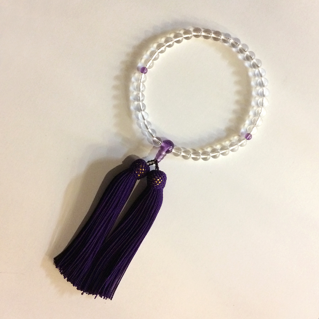 正絹房 略式念珠 水晶 紫水晶仕立