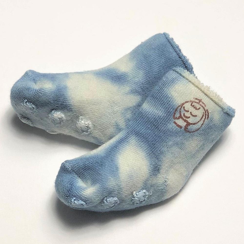 赤ちゃん靴下(本藍染:ブルー×オーガニックコットン,裏地パイル)