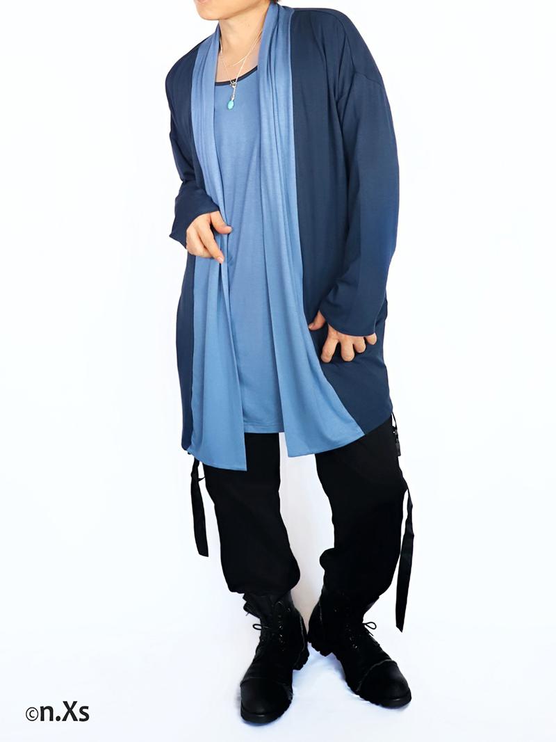 バイカラー ドレープカーディガン BLUE