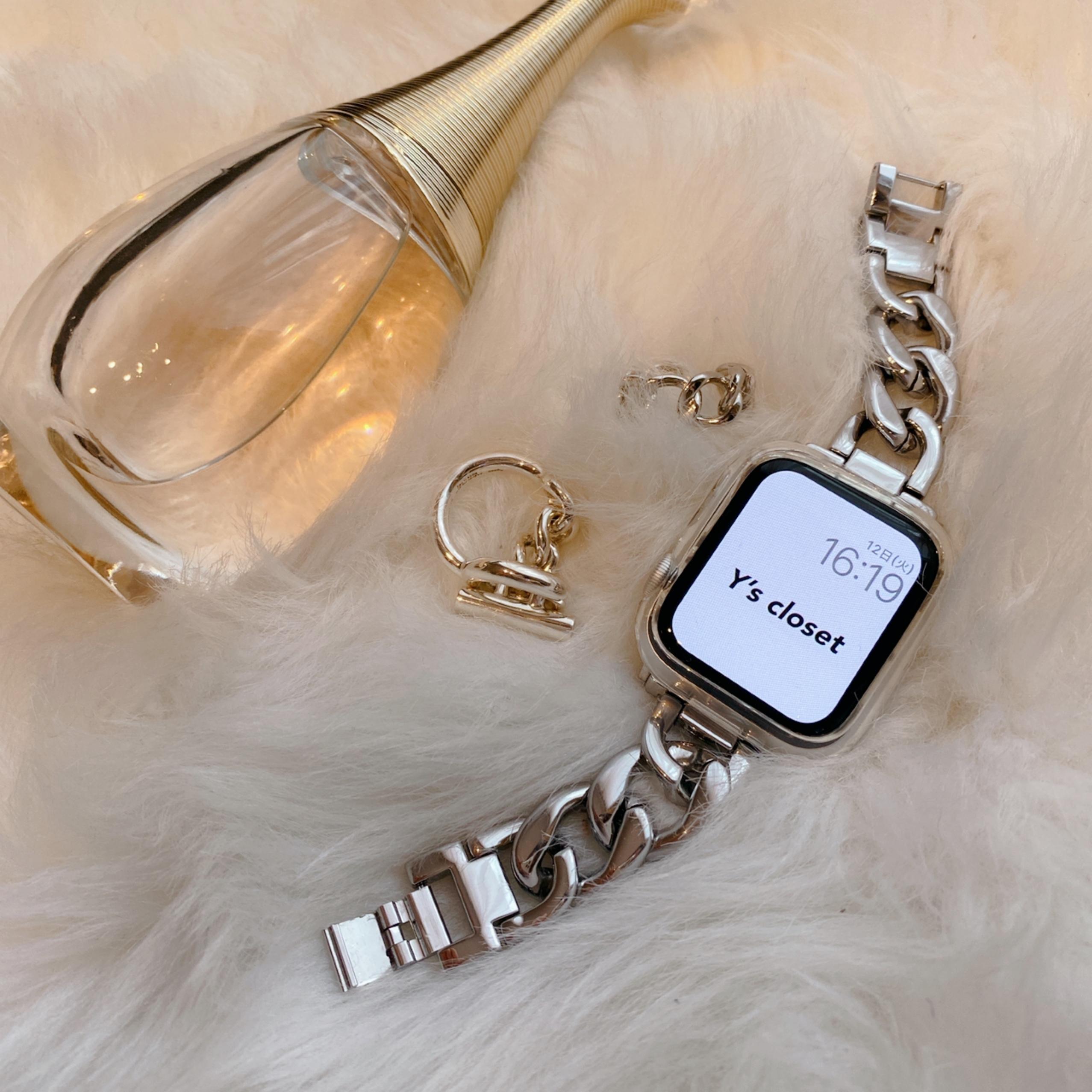 Apple Watch チェーンブレスレット バンド ベルト 4カラー aw100