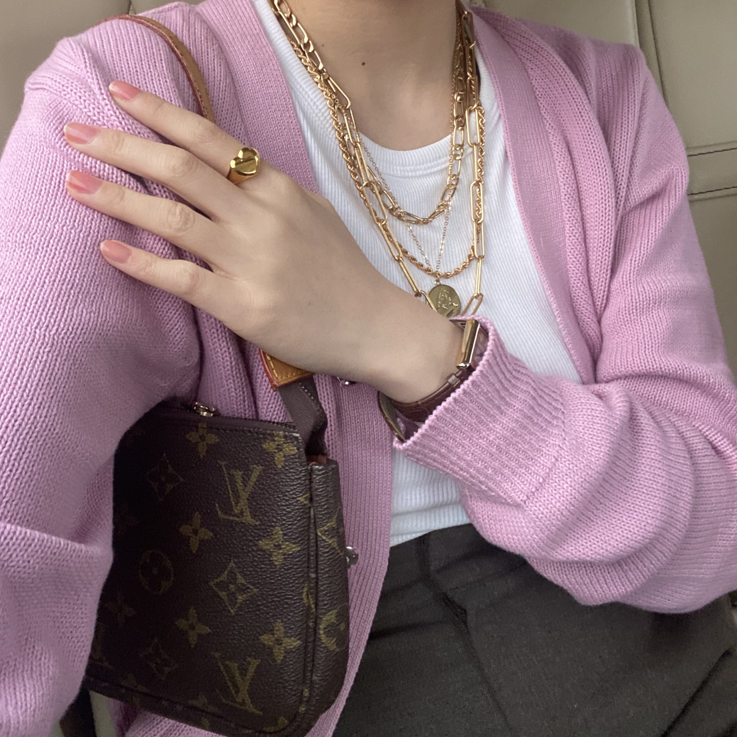 【LAST1】DAYNYC snap pink cardigan