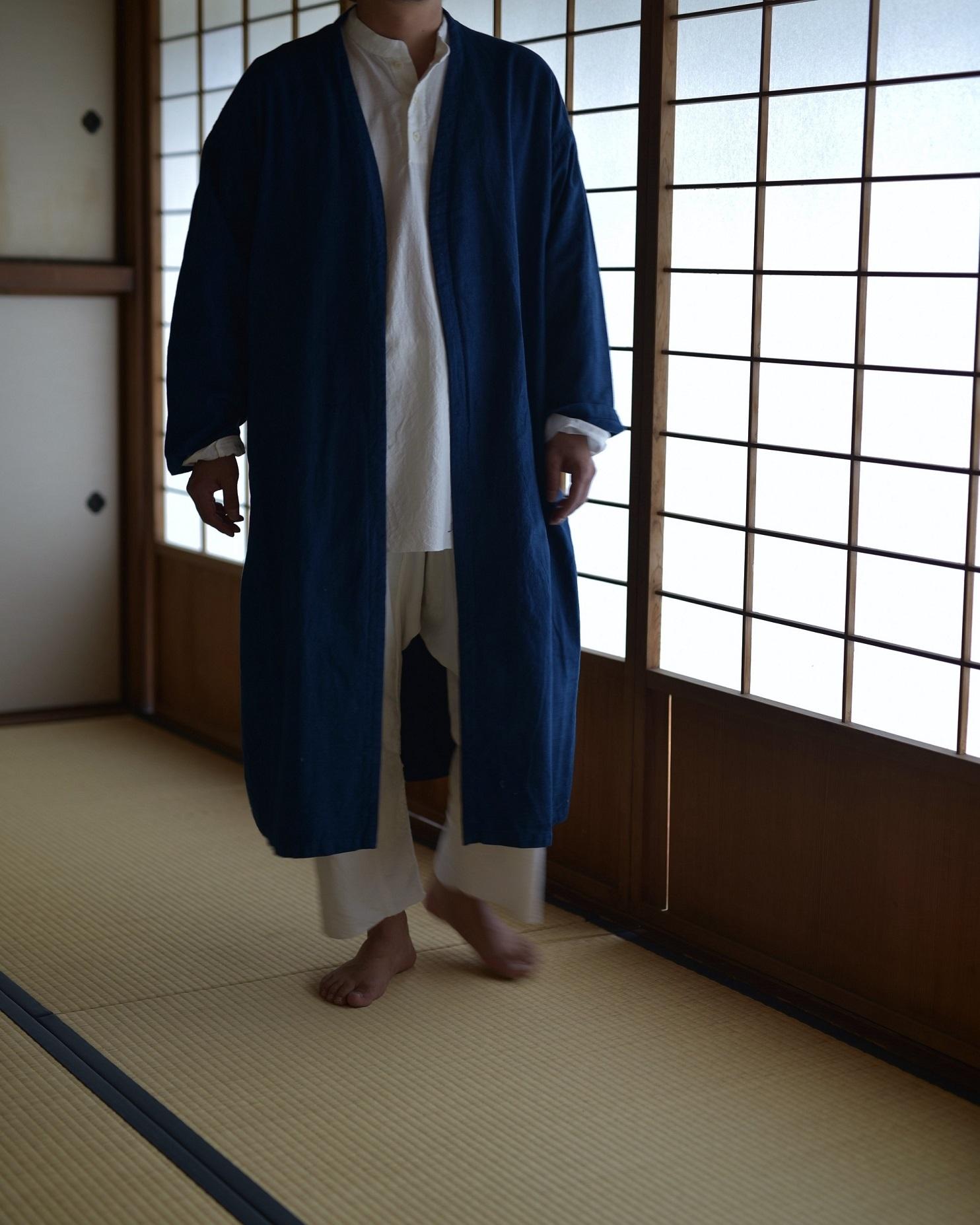 御茶屋跡 × YAECA khadi ユニセックス   羽織り 藍染め