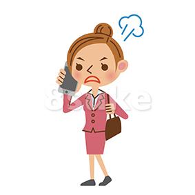 イラスト素材:スマートフォンで通話するビジネスウーマン/怒った表情(ベクター・JPG)