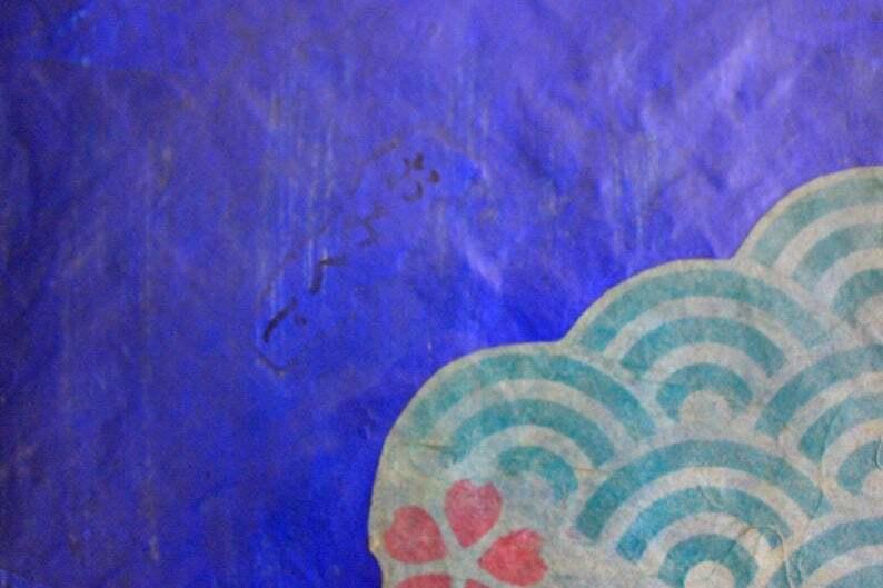 おみくじ入り和紙青色青海波かごバッグMサイズ