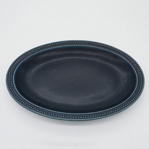 パンとごはんと... (Bread and Rice) RIM DOTS OVAL PLATE (リムドット オーバルプレート) Lサイズ 【ネイビー】