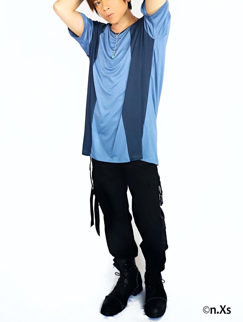 バイカラー ソーサーネックTシャツ BLUE