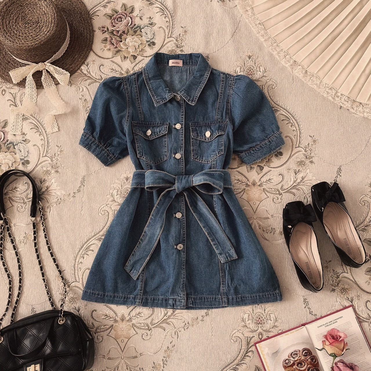 【meltie】denim ribbon one piece jacket