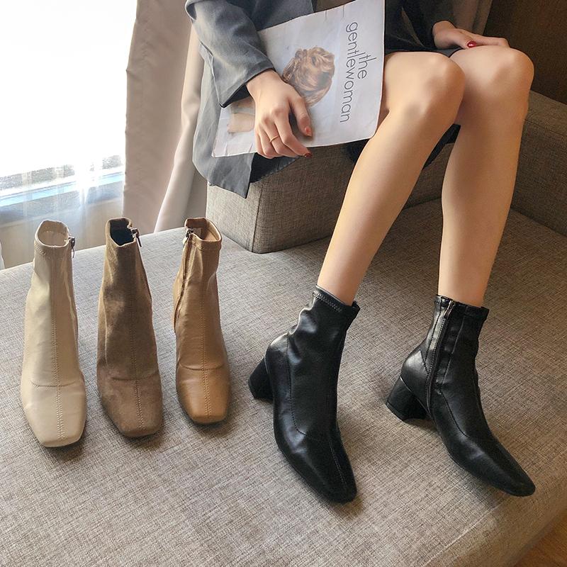 ブーツ2019新しい秋厚いヒールのショートブーツins薄い靴純赤いマーティンブーツ野生のハイヒールの女性の春と秋のシングルブーツ 部族の婦人靴0550628