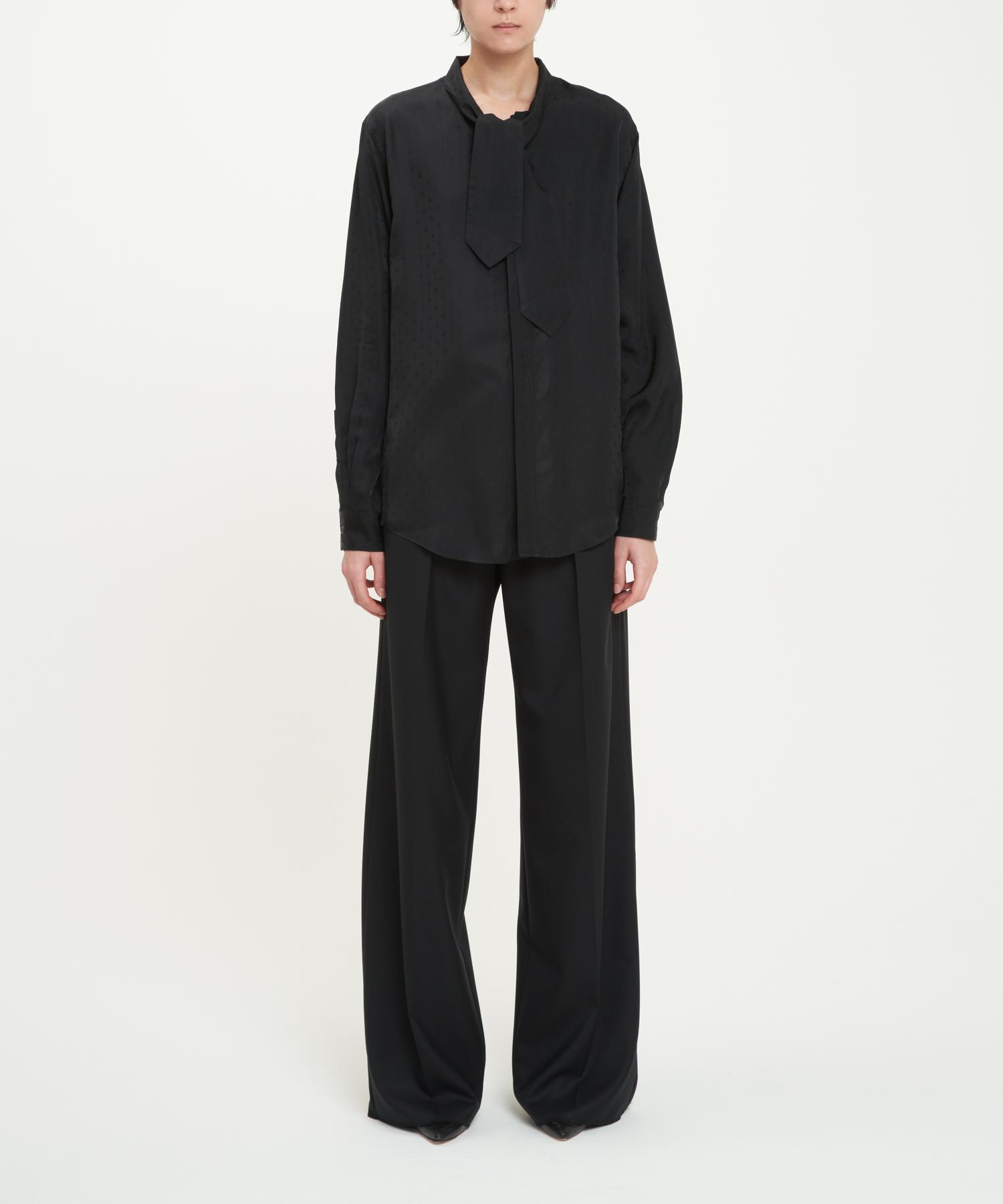 Black Cupro Paisley Lavalliere-Neck Shirt