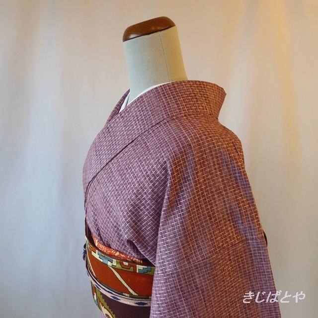 正絹紬 紫のモザイクのような小紋 袷