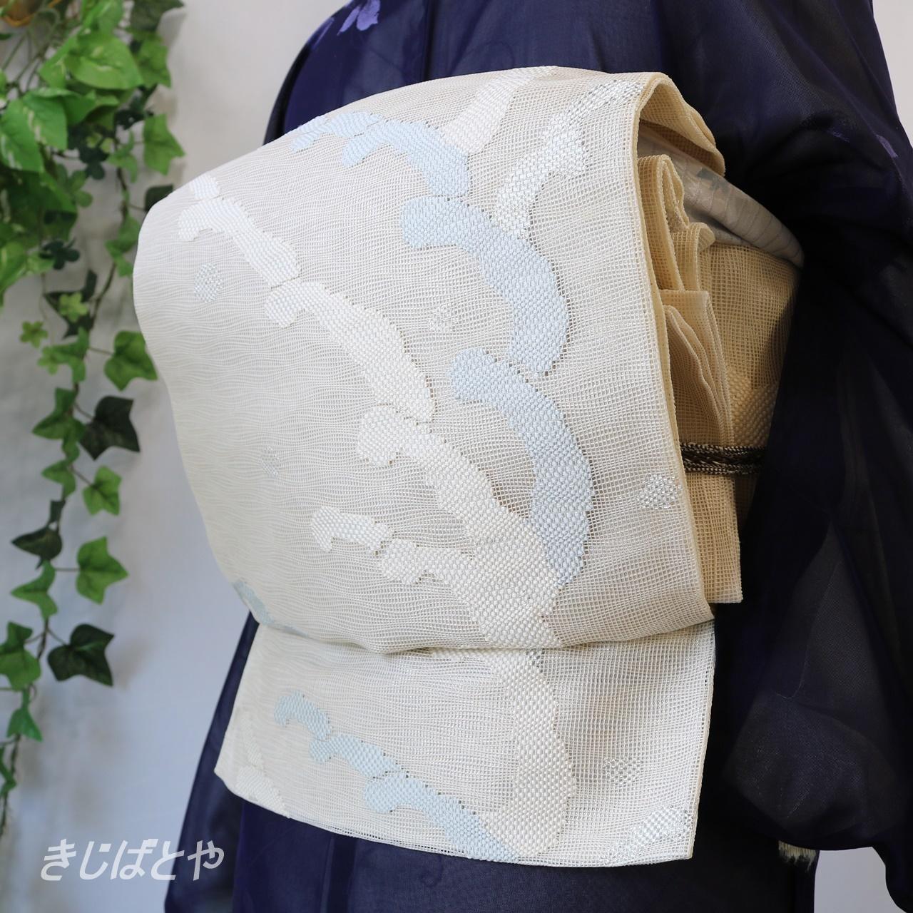 正絹紗 白地に波の袋帯