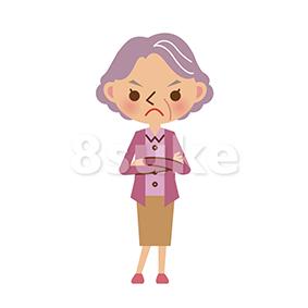 イラスト素材:腕組みをするおばあちゃん(ベクター・JPG)