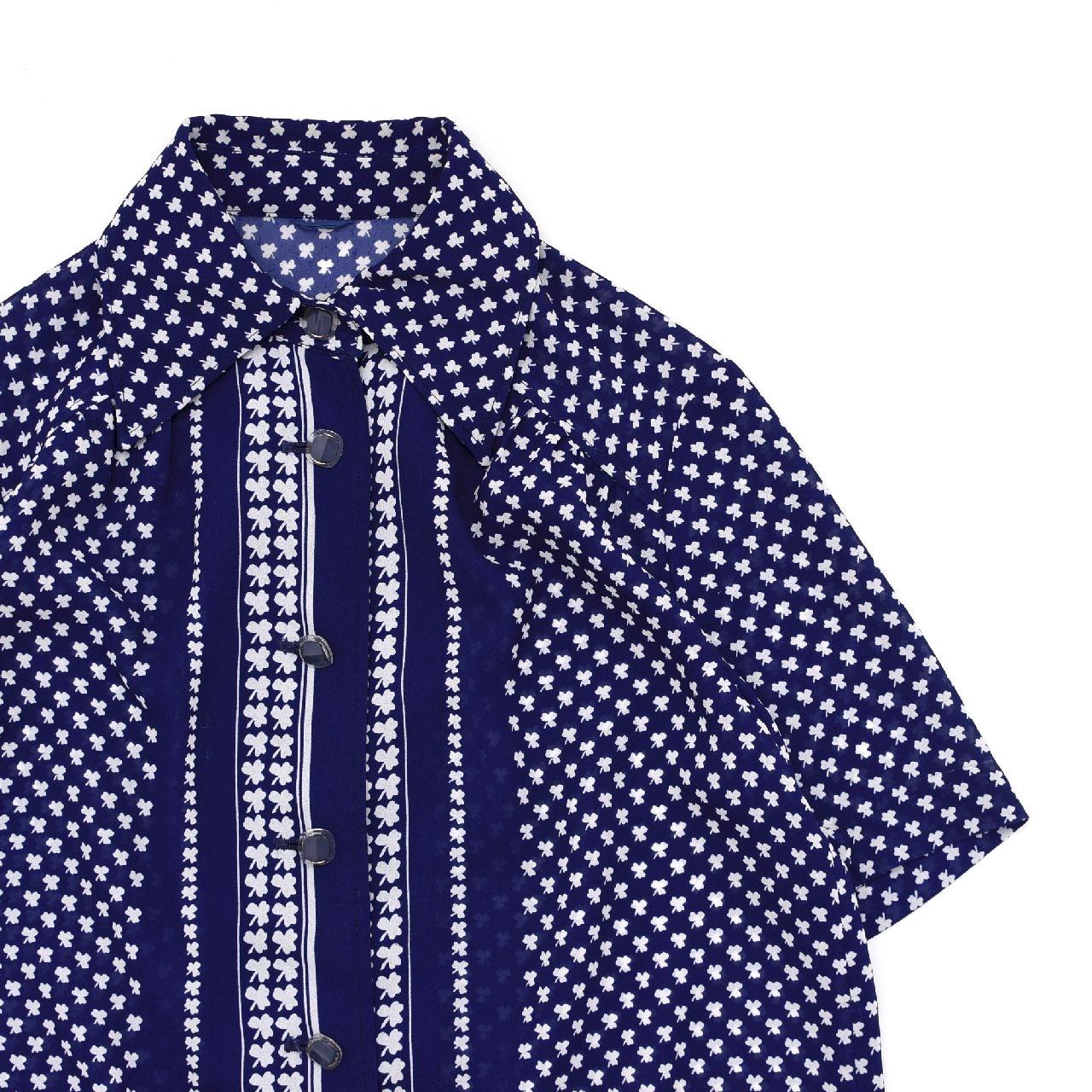 Clover pattern georgette retro blouse
